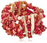"Kenneth Cole New York Coral Canyon"" Semiprecious Chip Bead Multi-Row Stretch Bracelet"