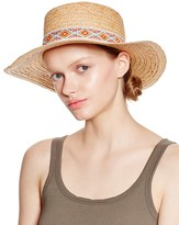Aqua Flat Crown Floppy Hat with Festival Band