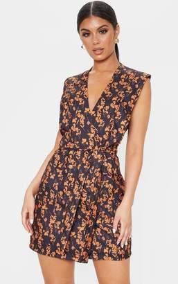 PrettyLittleThing Black Oriental Floral Sleeveless Gold Button Detail Blazer Dress