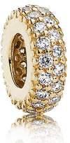 Pandora Women's Bead Pave Charm Inspiration 585 Yellow Gold with White 750835CZ