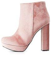Charlotte Russe Velvet Platform Ankle Booties