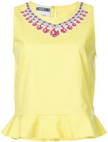 Moschino trompe l'oeil necklace applique blouse - women - Cotton - 38