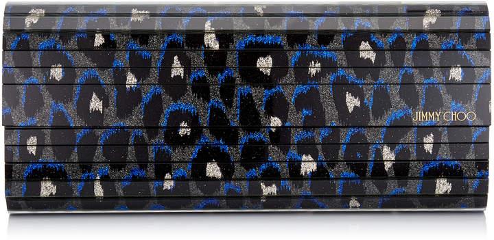 Jimmy Choo SWEETIE Pop Blue Mix Leopard Print Fine Glitter Acrylic Clutch Bag