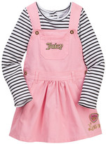 Juicy Couture Striped Top & Twill Jumper Set (Toddler Girls)