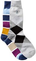 Original Penguin Argyle & Stripe Crew Socks - Pack of 2