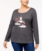 Karen Scott Plus Size Geese Holiday Graphic Top, Created for Macy's