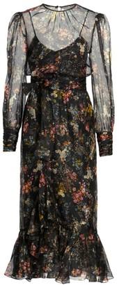 Cinq à Sept Marianne Floral Silk Long Puff-Sleeve Midi Dress