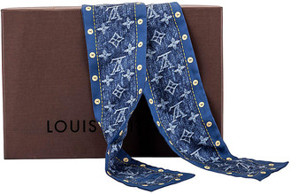 One Kings Lane Vintage Vuitton Silk Denim Maxi Twilly Scarf - Vintage Lux