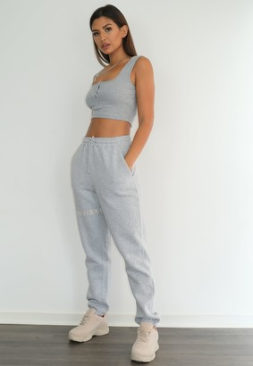 Missguided Grey Marl Oversized 90S Joggers