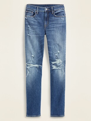 Old Navy High-Waisted Distressed Power Slim Straight Ankle Jeans for Women