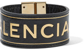 Balenciaga Blanket Embossed Textured-leather Bracelet - Black