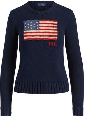 Ralph Lauren Polo Flag Cotton Jumper, Hunter Navy