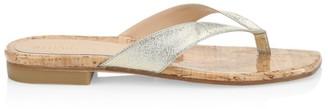 Stuart Weitzman Aldona Metallic Leather Thong Sandals