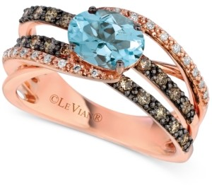 LeVian Le Vian Aquamarine (9/10 ct. t.w.) & Diamond (1/2 ct. t.w.) Ring in 14k Rose Gold