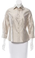 Carolina Herrera Collared Pinstripe Top