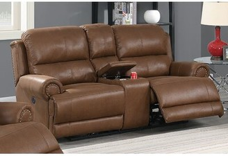 "Red Barrel Studio Lucky Reclining 80"" Pillow Top Arm Loveseat Upholstery Color: Dark Brown"