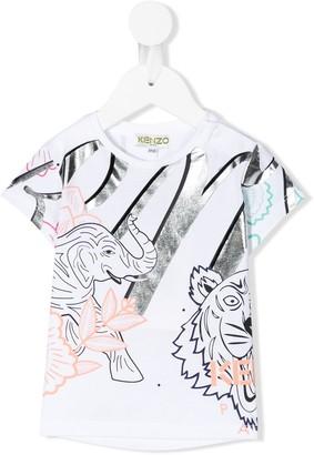 Kenzo Crazy Jungle print metallic detail T-shirt