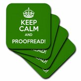 3dRose Keep calm and proofread - Soft Coasters, set of 4 (cst_159553_1)