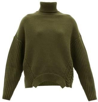 Golden Goose Oversized Roll-neck Merino Wool Sweater - Womens - Khaki