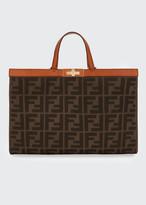 Fendi Peekaboo X-Lite FF Logo Canvas Medium Tote Bag