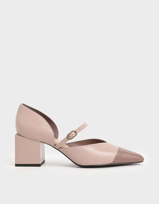 Charles & Keith Two-Tone Mary Jane Block Heel Pumps