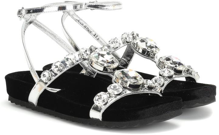 Embellished Embellished Leather Leather Sandals Crystal Crystal QBexCdorW