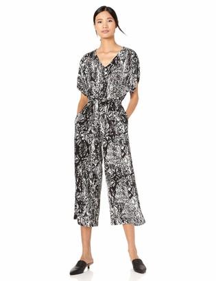 Donna Morgan Women's Short Sleeve Self Tie Cropped Crepe Jumpsuit