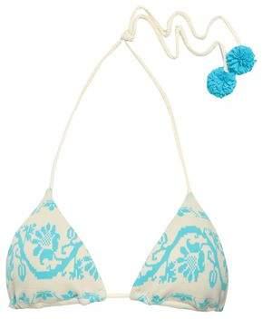 Heidi Klein Pompom-embellished Jacquard-knit Triangle Bikini Top