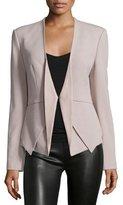 Halston Open-Front Blazer W/Leather Inset, Stone