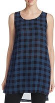 Eileen Fisher Check Silk Scoop Neck Tunic