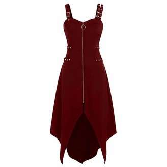 Hulky Women's Dresses HULKY Gothic Punk Style Women's Dress Plus Size Cool Zipper Irregular Hem Sleeveless Camisole Mini Dress with Adjustable Strap(Purple XX-Large)