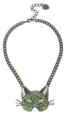 Betsey Johnson Pave Cat Mask Pendant Necklace