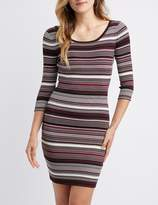 Charlotte Russe Striped & Ribbed Knit Bodycon Dress