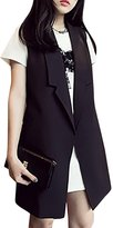 ACE SHOCK Women's Girls Fashion Waistcoat Mid-length Casual Cotton Vest Safari Jacket (S)