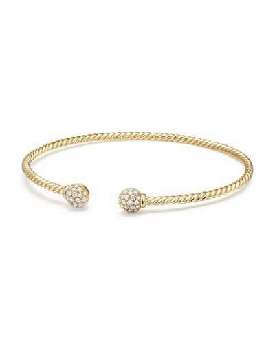 David Yurman 6mm Solari Pave Diamond Open Cuff Bracelet, Small