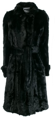 Apparis belted faux-fur coat