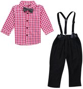Lestore Boys Gentleman Long Sleeve Plaid Shirt & Denim Overalls 2pcs Suit Sets
