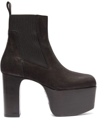 Rick Owens Platform Leather Chelsea Boots - Womens - Black