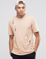 Jack and Jones Crew Neck T-shirt in Washed Cotton with Distressed Detail