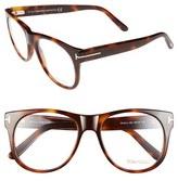 Tom Ford Women's 55Mm Optical Glasses - Dark Havana/ Rose Gold (Online Only)