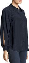 Frame Slit Sleeve Silk Blouse, Navy