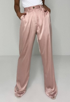 Missguided Mauve Satin Pleated Trousers