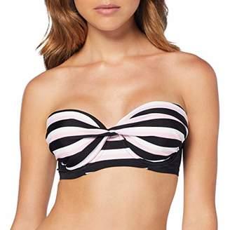 Pour Moi? Women's Borderline Removable Straps Padded U/W Top Bikini Black/Pink, (Size:)