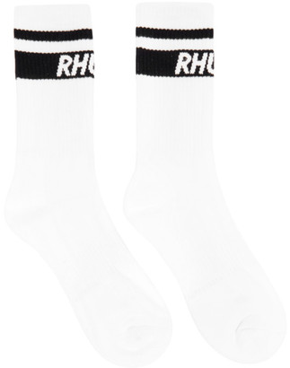 Rhude White Two-Stripe Logo Socks