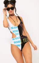 PrettyLittleThing Black Cut Out Spliced Print Thong Bodysuit