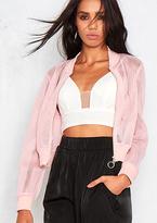 Missy Empire Lyra Pink Mesh Bomber Jacket