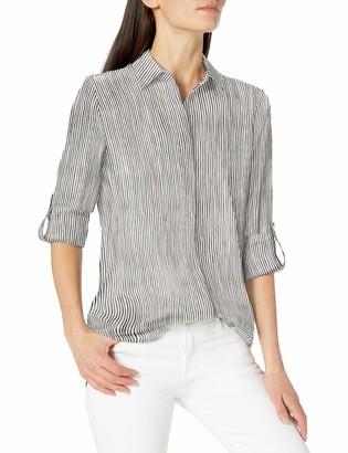 Ellen Tracy Women's Roll Tab Boyfriend Shirt