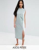 Asos Sleeveless Color Block Midi Dress with Raw Edge & Tie Front