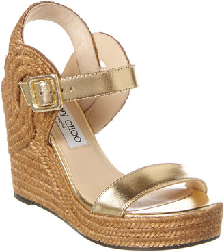 Jimmy Choo Delphi 100 Metallic Leather Wedge Sandal