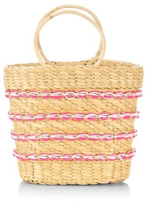 Poolside Mini Mak Shell-Embellished Straw Tote